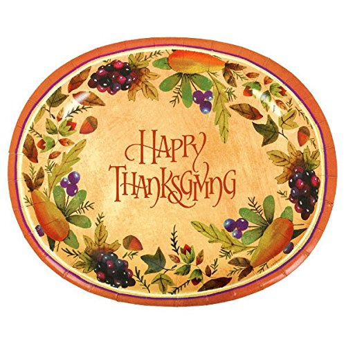 (Thanksgiving Medley Gold Oval Paper Platter, 8 Ct. | Party Tableware)