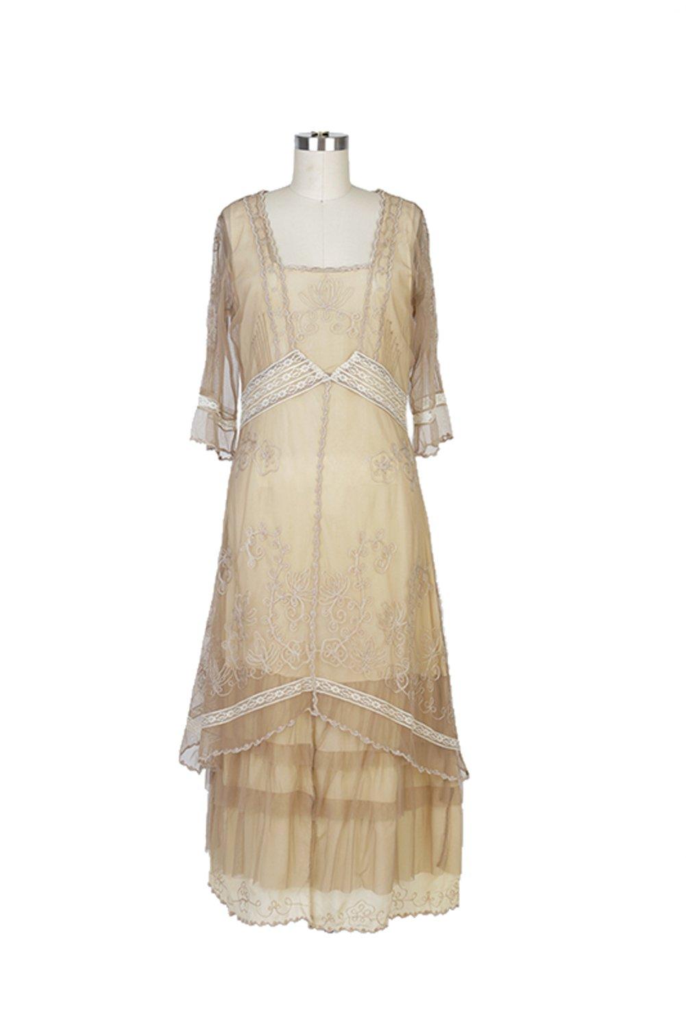 Nataya 2101 Women's Titanic Vintage Style Dress in Butter (Medium) by Nataya