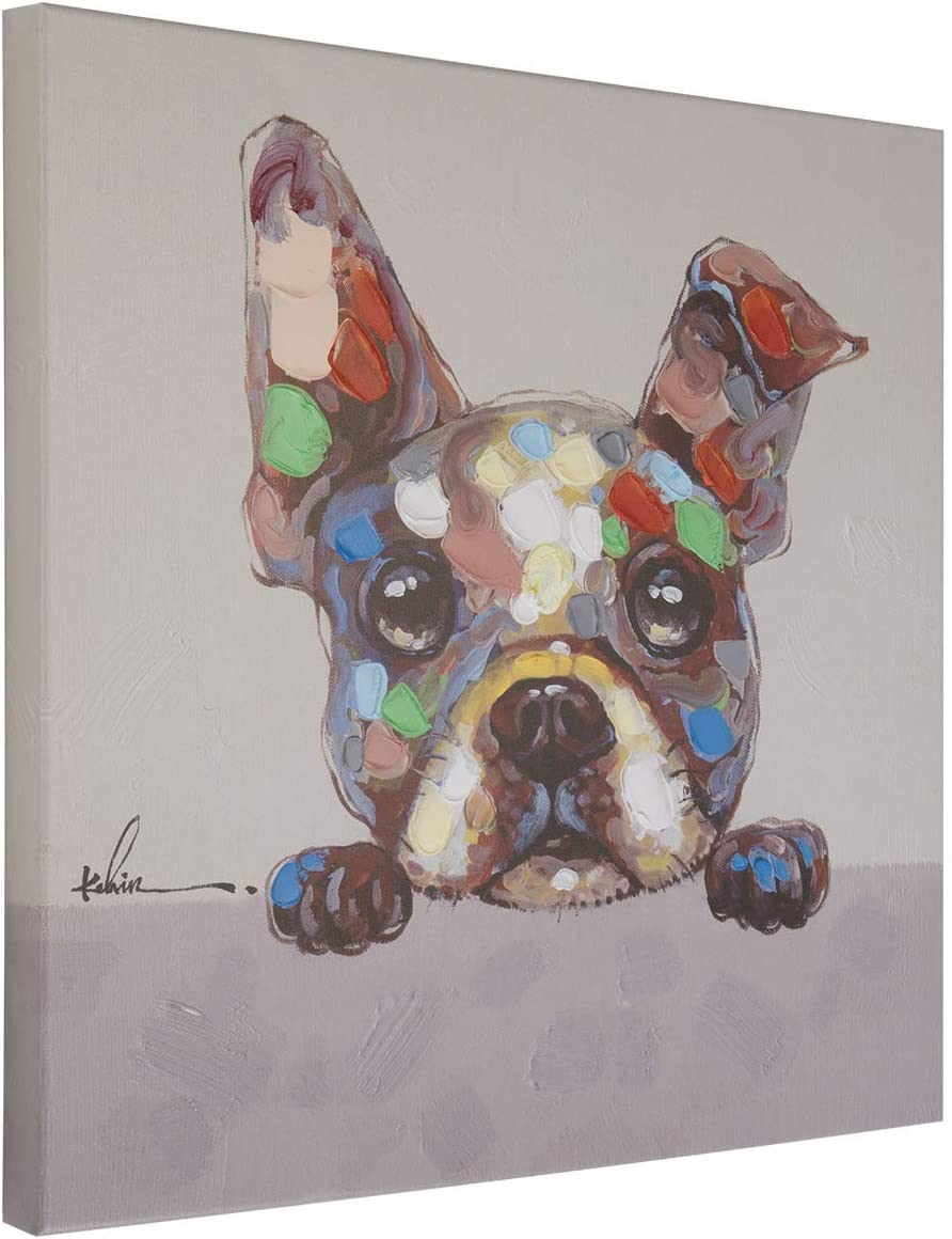 Boston Terrier Curious Dog Wall Art Modern Printing On Canvas Painting with Hand Embellished Home Decor 20 x 20