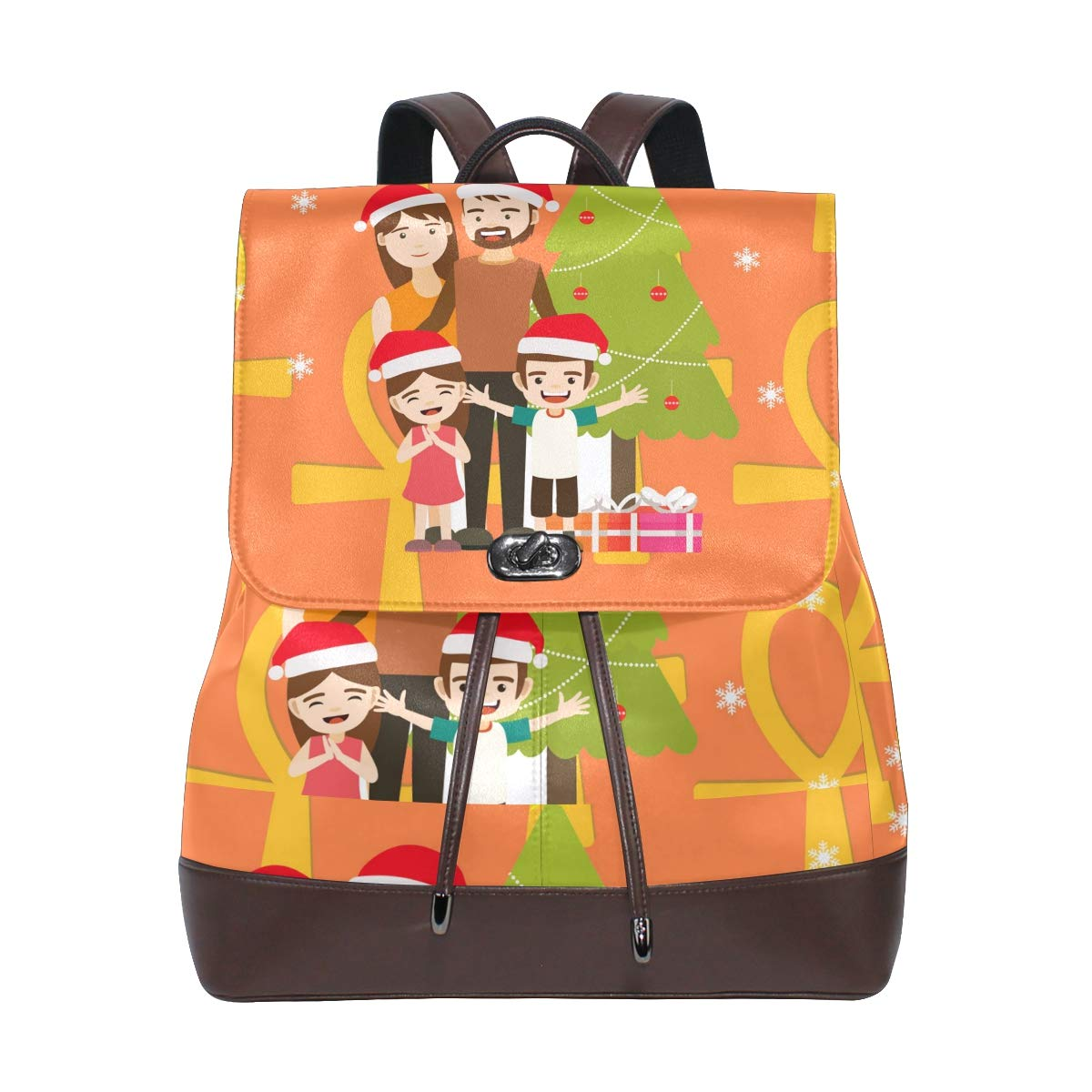 PU Leather Shoulder Bag,Christmas Family Backpack,Portable Travel School Rucksack,Satchel with Top Handle
