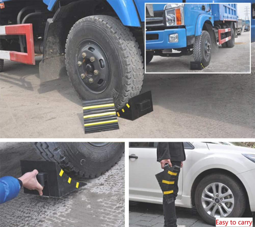 WE&ZHE Anti-Slipper Block Reverse Tire Positioning Blocker Parking Heavy Duty Large Solid Rubber Wheel Chock with Handle for Travel Trailer, Truck, Commercial Vehicle by WE&ZHE (Image #5)