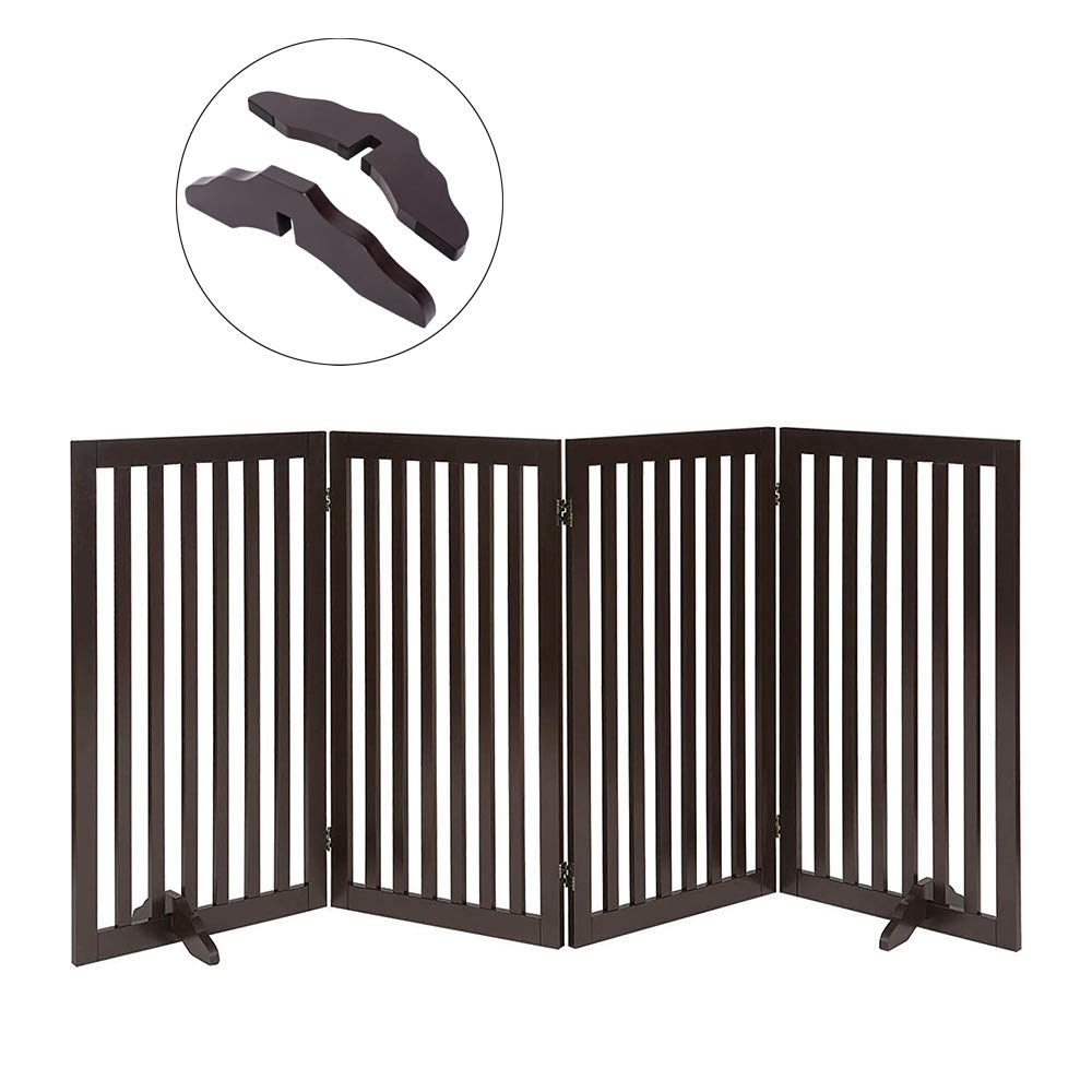Total Win - Freestanding 36'' Tall Dog Gate w/ Support Feet (Espresso) | Up to 80'' Wide | Assembly-free | Sturdy Wooden Structure | Foldable Design