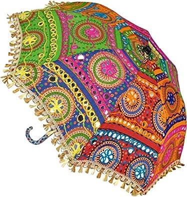 SUVASANA Rajasthani Handicraft Jaipur Embroidery Work Decorative   Wedding Umbrella for Event   Home Decor Party  Umbrellas