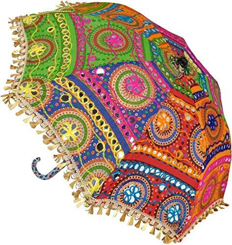 SUVASANA Rajasthani Handicraft Jaipur Embroidery Work Decorative|| Wedding Umbrella for Event|| Home Decor Party||Umbrellas