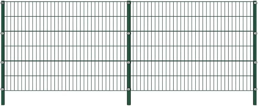 vidaXL Panel de Valla con Postes de Hierro Accesorios de Jardín Ocultación Privacidad Diseño Simple Funcional Resistente Intemperie Verde 3.4x1.2m: Amazon.es: Bricolaje y herramientas
