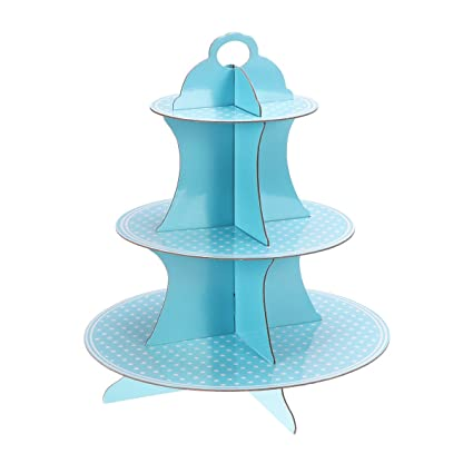Toymytoy Round Cardboard Cupcake Stand Small Blue Dot Paper