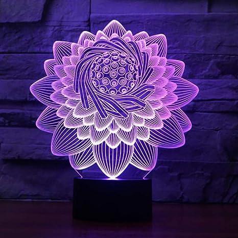 Zonxn Usb 7 Colors Led Nightlight Sleep Lighting 3d Lotus Flower
