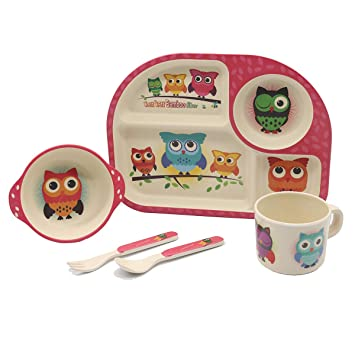 Boys and Kids-Owl Divided Dinner Plate for Toddlers,Eco-Friendly Bamboo Dishes Kids Bamboo Dinnerware Set,Childrens Tableware Set Food-Safe Feeding Set for Children