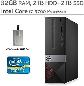 2020 Dell Vostro Small Desktop Computer, 9th Gen Intel Core i7-9700, 32GB DDR4 RAM, 2TB HDD+2TB SSD, Intel UHD Graphics 630, Wired Keyboard, DVD-RW, HDMI, Win 10 Pro, Black, 32GB Snow Bell USB Card