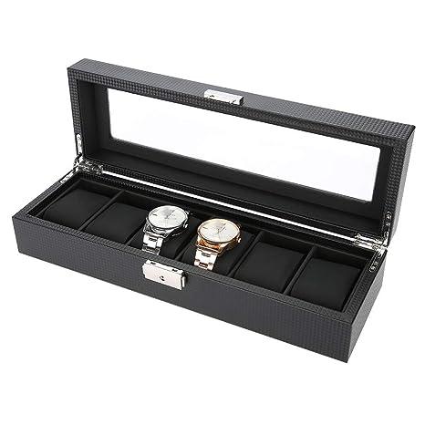 Estuche de Almacenamiento de Relojes, 6 Grids Caja de Relojes para Relojes o Joyeria Organizadora y Exhibición, Cuero de PU y Fibra de Carbono