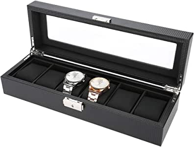 6 Grids Caja de Almacenamiento de Relojes Negro, Estuche de Joyeria para Organizadora y Exhibición, Cuero de PU y Fibra de Carbono: Amazon.es: Belleza