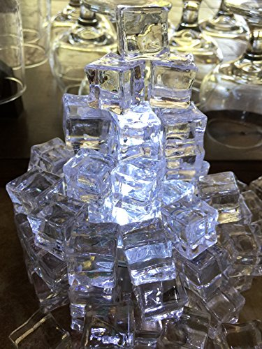 60 PCS Crystal Clear Acrylic Ice Cubes Square Shape, for Photography Props or Home And Kitchen Decoration.By Sunrise Crystal (Ice Cube Decorations)