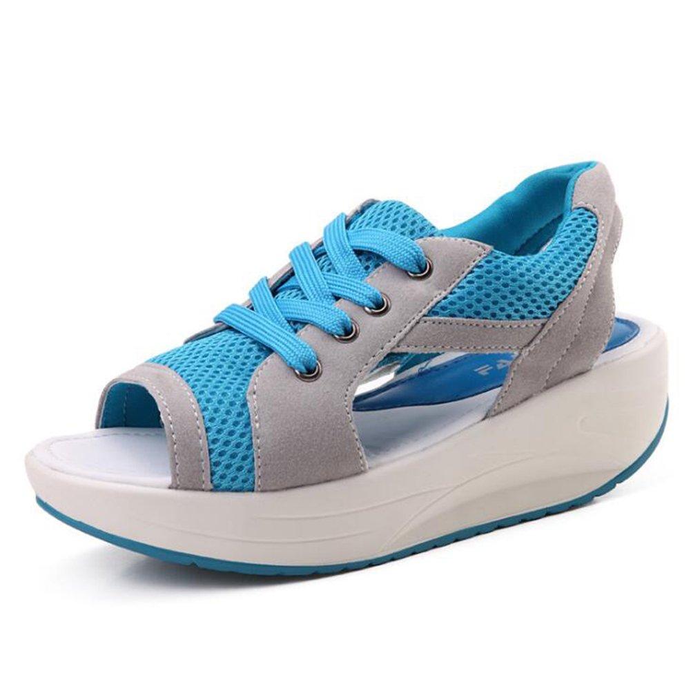Frauen Mesh Casual Shake Schuhe 2018 Neue Muffin Bottom Sandalen Dicke Bottom Slope Mit Atmungsaktive Shaking Schuhe Damen Mesh Bequeme Turnschuhe Casual Sandalen  40|Blau