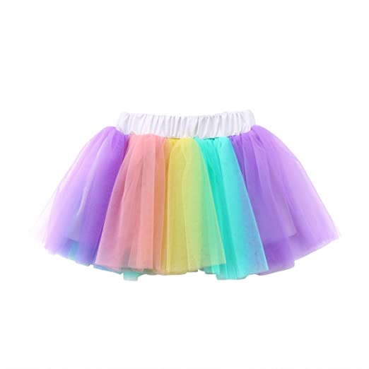 0638ed72d ITFABS Baby Girl Colorful Tutu Lace Skirt Rainbow Tiered Tulle Super Soft  Skorts Dress Outfits (