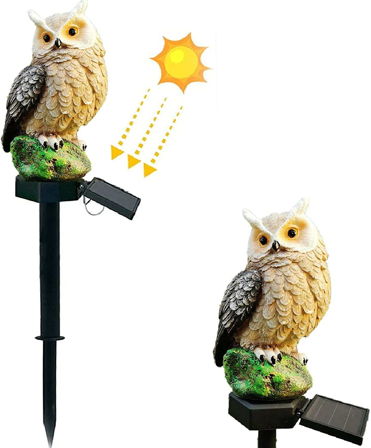 Vency Solar Garden Lights Lawn Lights, Owl Bird Shape Solar-Powered Lamp Waterproof Outdoor Decorative Resin Owl Solar Ground LED Lights with Stake for Garden Lawn Pathway Yard Decortions (Brown)