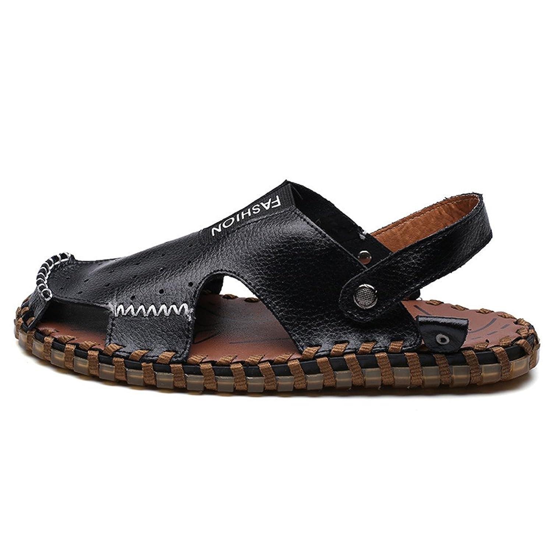 Chaussons pour hommes Pantoufles de plage en cuir véritable Perforation respirante Sandales décontractées Anti-dérapant Soft Flat Adjustable Backless ,Pour Hommes ( Color : White , Size : 9.5MUS )
