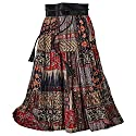 Women's Red Desert Broom Skirt - Reversible Red Floral/Patchwork Print - Medium
