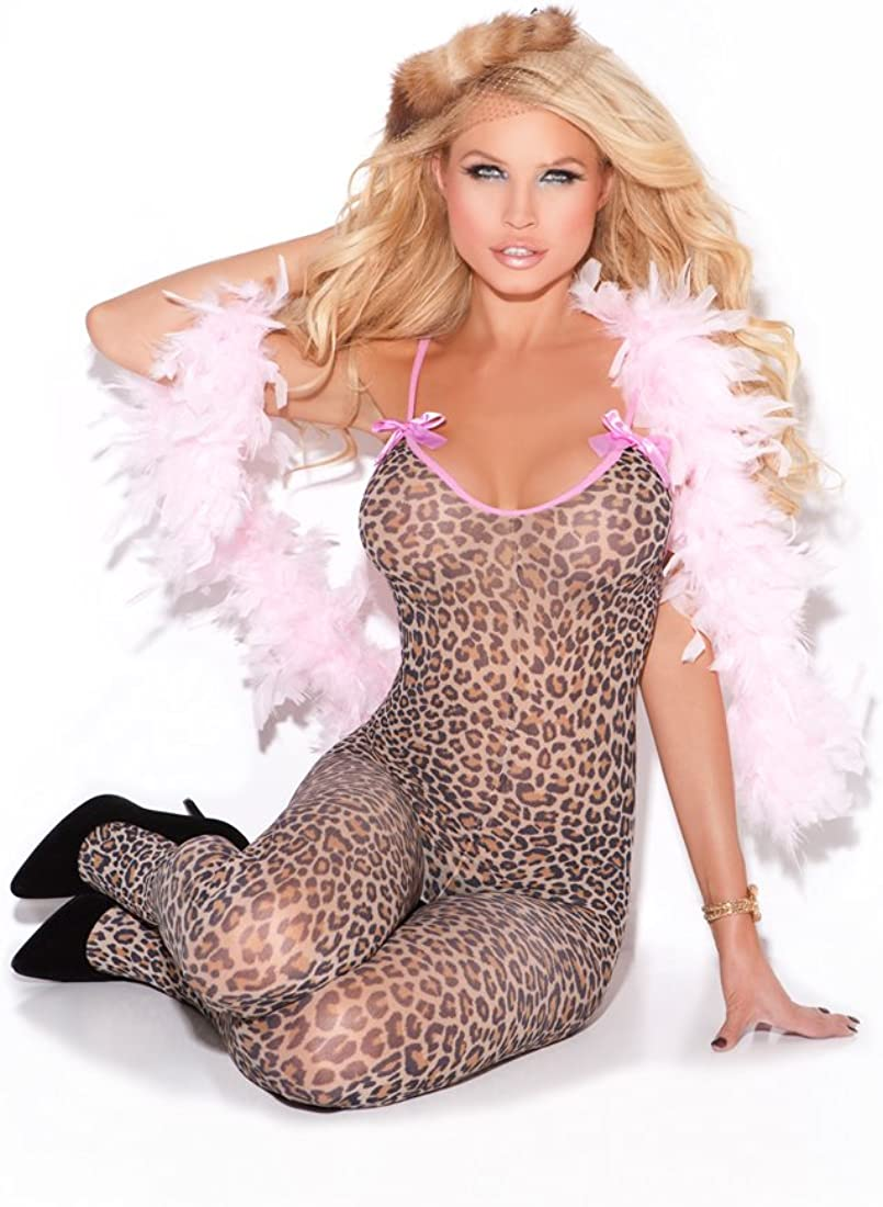 100/% Nylon. Elegant Moments Sheer Stockings with Leopard Pattern Lace Tops