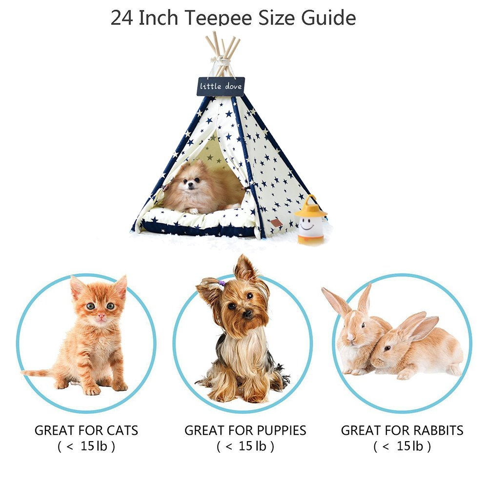 little dove Pet Supplies Canvas Star Style Pet Teepee and Kennels Dog Play House Play Tent Cat Bed 24 Inch Whth Thick Cushion