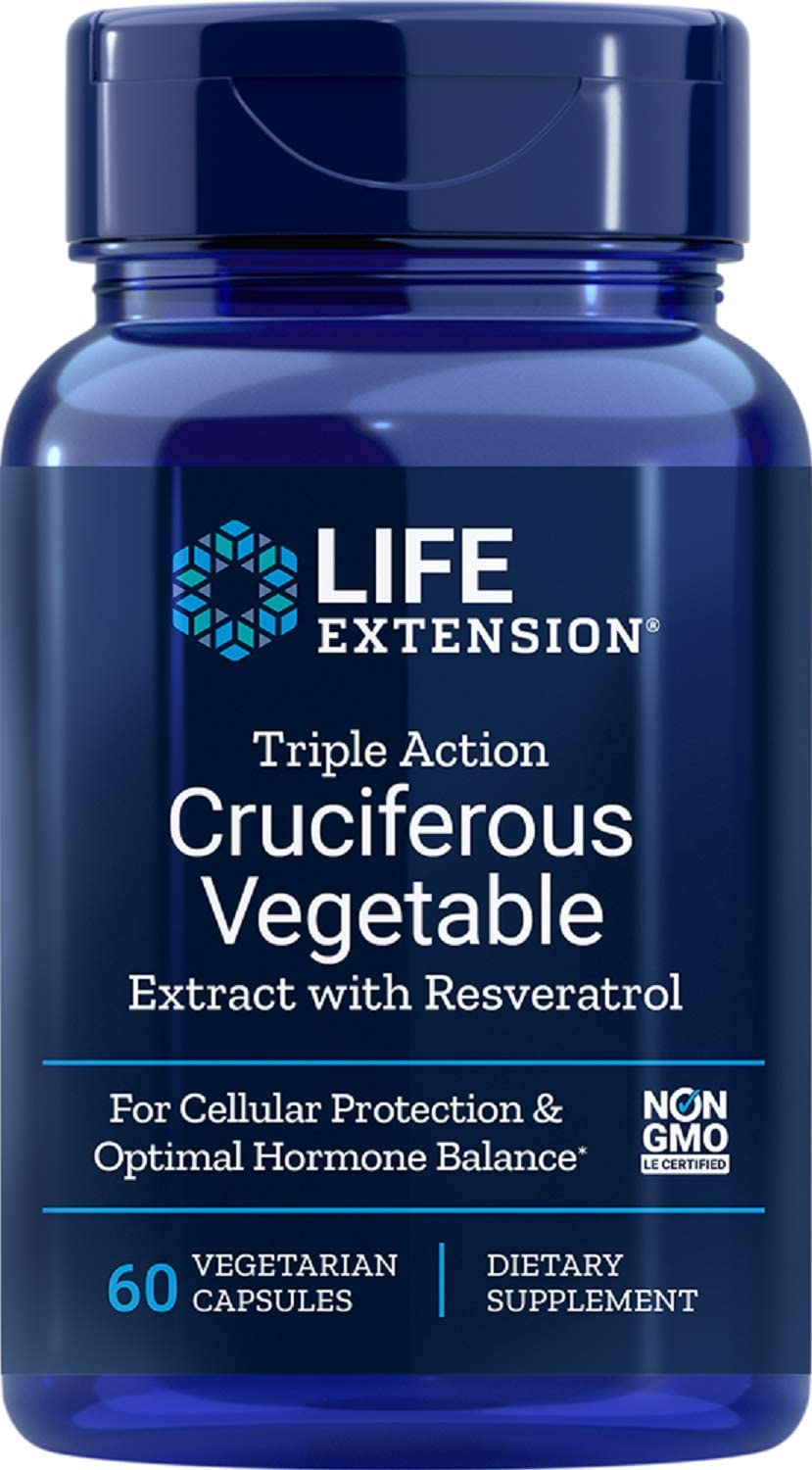 Life Extension Triple Action Cruciferous Vegetable Extract with Resveratrol, 60 Vegetarian Capsules