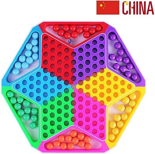 Damas Chinas con Canicas Juego De Mesa 2 En 1 Las Piezas De Ajedrez Incluyen 60 Canicas En 6 Colores para Juegos De Viaje Familiar: Amazon.es: Hogar