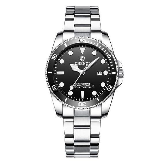 Relojes Pulsera Hombre Mujer Submariner Calendario Acero Inoxidable