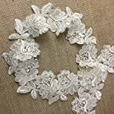 """2 Yards, Corded, Beaded, and Sequined Flower Trim Lace on Organza, Dark Ivory; 3"""" inches"""