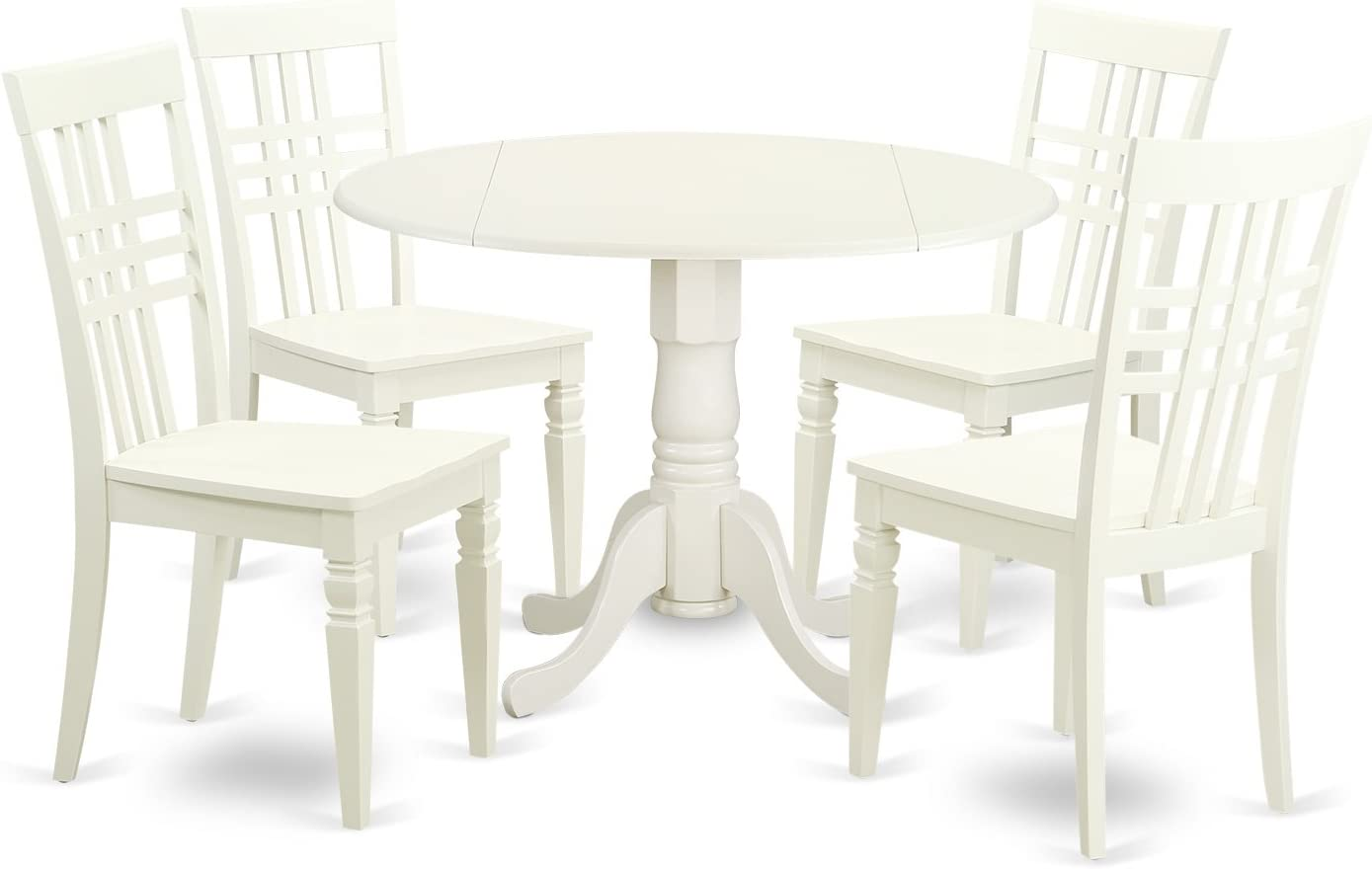 DLLG5-LWH-W 5 PC Small Kitchen Table set with a Table and 4 Dining Chairs in Linen White