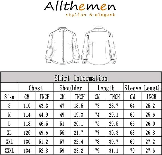 de seda jacquard camisas de vestir de manga larga Allthemen cuello con botones y camisas de esmoquin casuales Camisa de cachemira para hombre