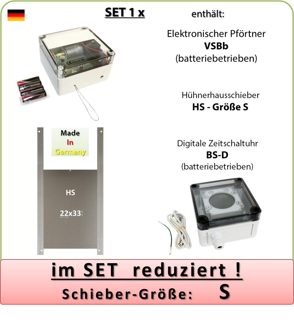 SET 1_x - Pförtner mit Batterien, Außenmontage, Zeitschaltuhr, Hühnerklappe AXT-Electronic