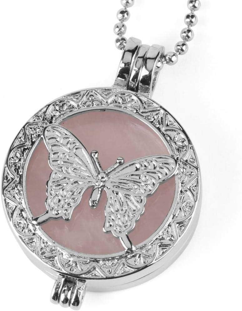Collar Piedra Para Mujer,7 Chakra Vintage Natural Piedra De Cuarzo Rosa Grabado Mariposa Colgante Delicada Cadena De Plata Encanto Gargantilla Reiki Balance De Energía Regalo De Moda Para Hombres N