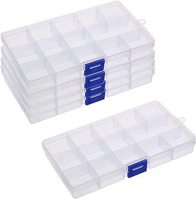 BELIOF 5 Pcs Caja Plástica del Compartimiento para Joya Cajas Organizadoras con 15 Compartimentos Contenedor de Herramientas Plástico Transparente de la joyería Organizadores con 15 Separadores: Amazon.es: Joyería