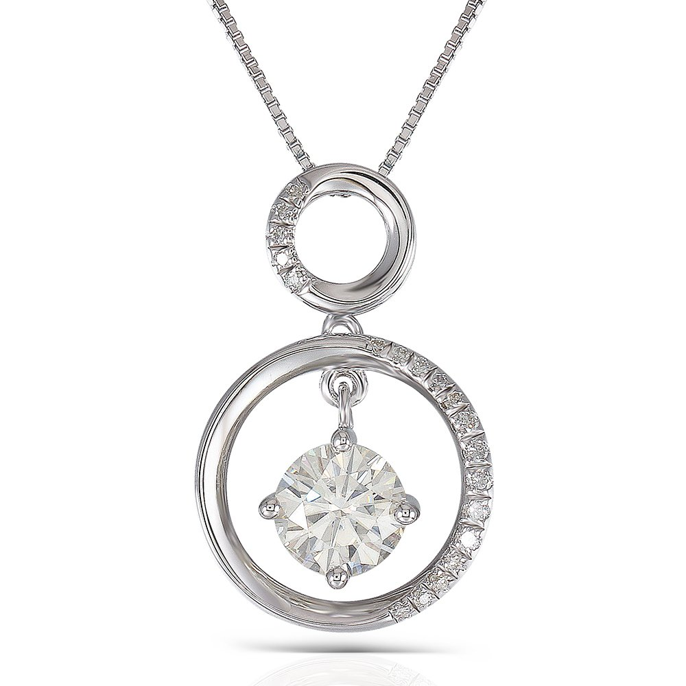 DOVEGGS Platinum Plated Silver Center 1ct 6.5mm H Nearly Colorless Moissanite Pendant Necklace with Accents