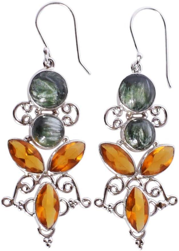Pendientes de serafinita exótica y cuarzo citrino con gema de plata de ley 925 maciza hechos a mano FSJ-2863