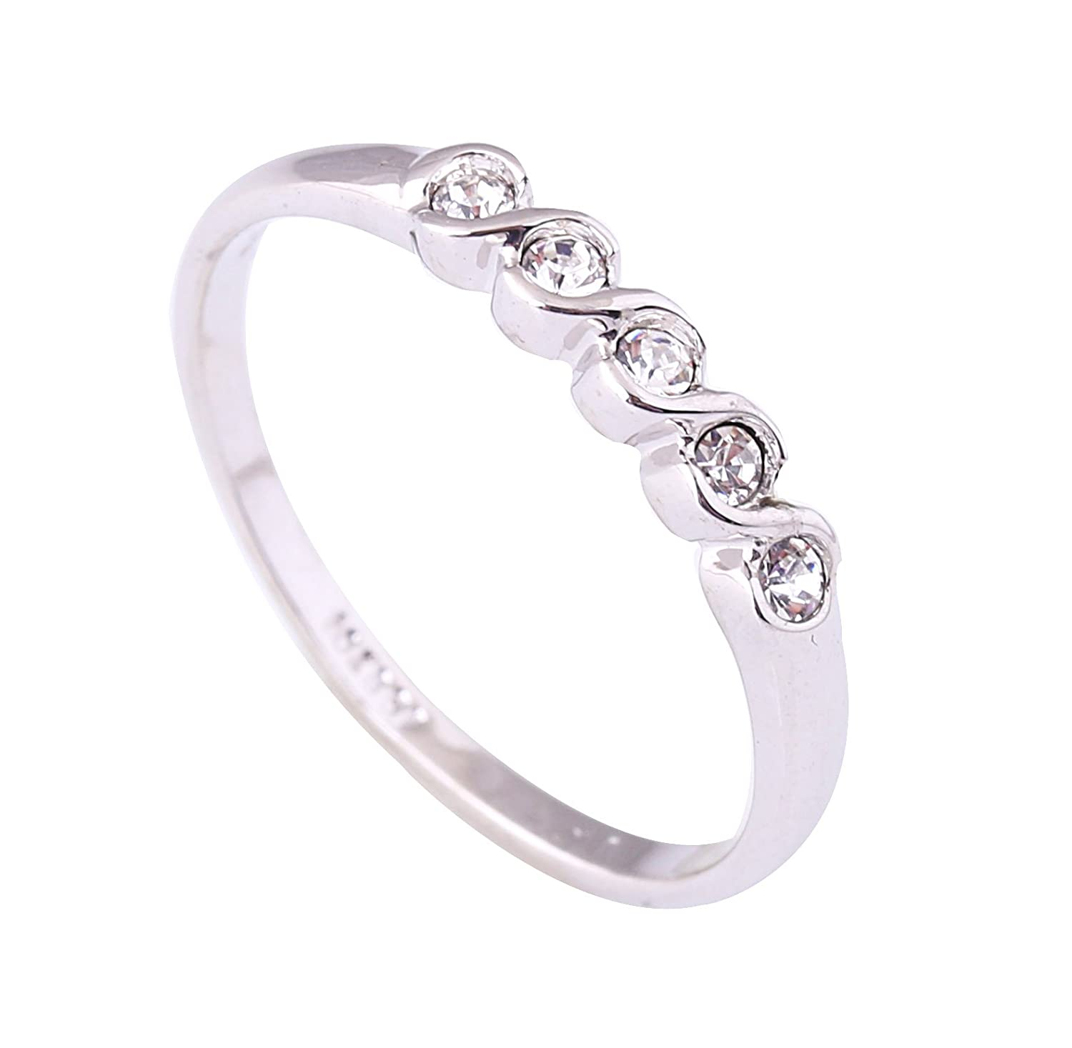 Acefeel Simplicity Style 18K White Gold Plated Czech Drilling Band Ring Valentine's Day Mother's Day Gift Ring R032