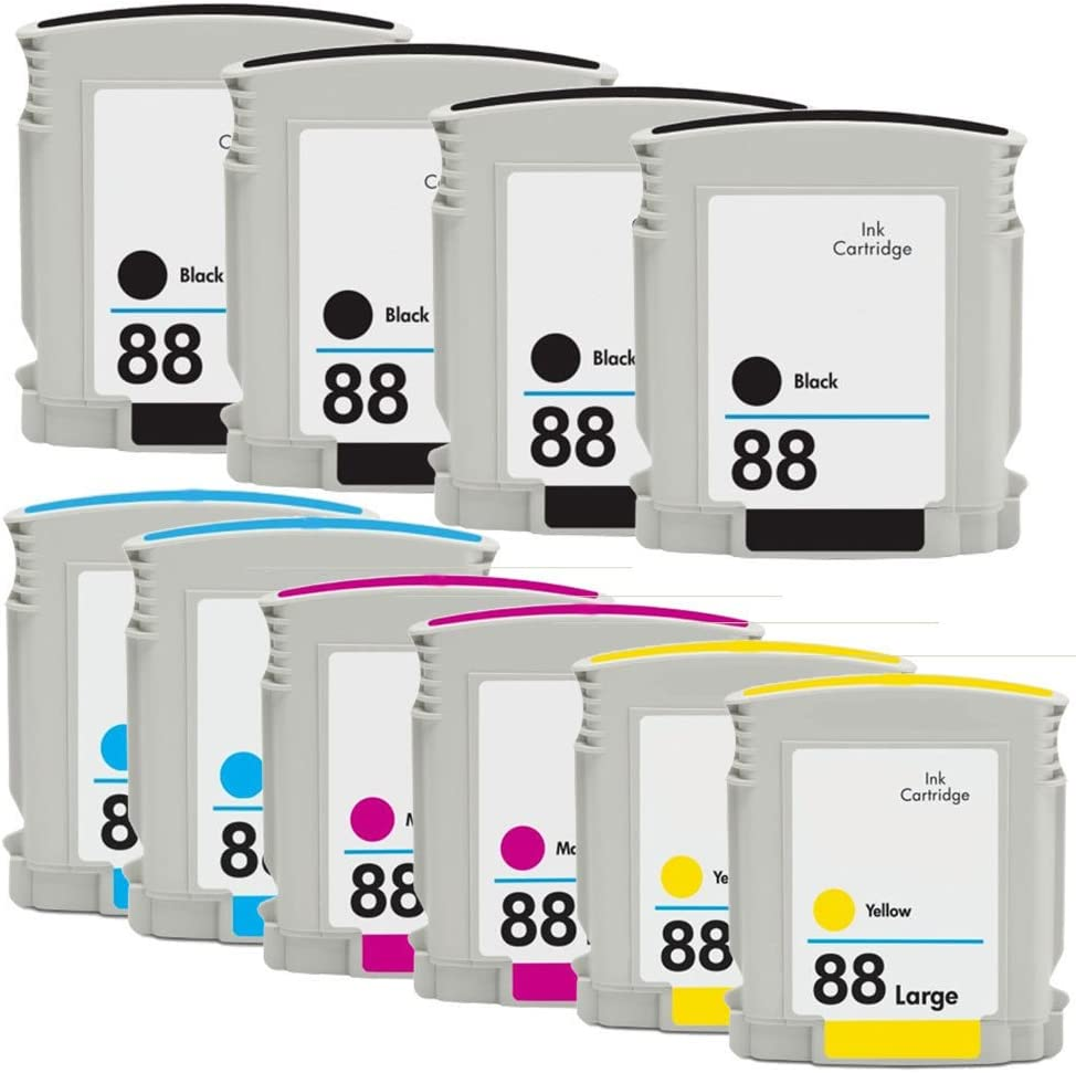 INKTONER 10 pack 88XL #88 Ink Cartridge Combo Set C9396A For HP OfficeJet Pro K5400 K550 K8600