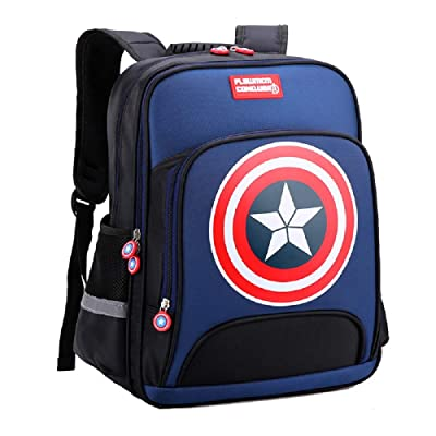 Lonme Backpacks Captain America Children Primary Schoolbag School Bags Teenager Student Backpack Dayback Waterproof (royal blue, Large) | Kids' Backpacks