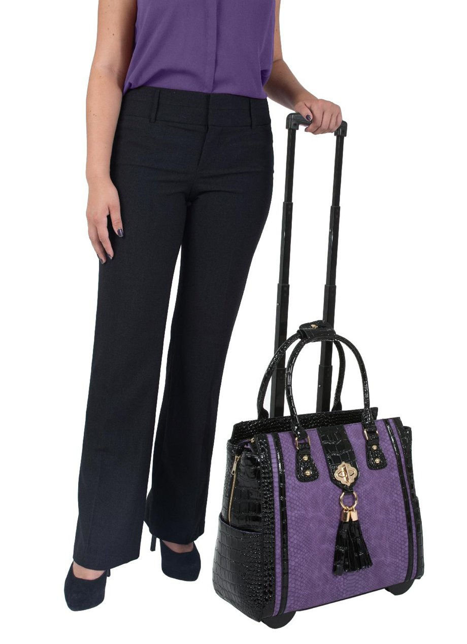 ''THE DUCHESS'' Purple Python & Alligator Computer iPad, Laptop Tablet Rolling Tote Bag Briefcase Carryall Bag by JKM and Company