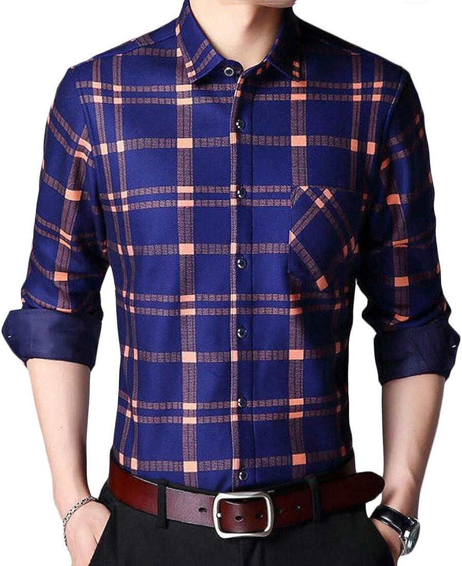 Mens Dress Shirt Fleece Long Sleeve Plaid Slim Fit Button Down Shirts