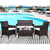 Leisure Zone 4 PC Rattan Set is The Best Choice For Your Patio, Porch, Poolside or Garden Specifications:  Rattan Material:PE Rattan Color: Brown Frame: Steel Cushion: Blue polyester fabric and sponge padded Weight capacity: 330 pound Assemble : Need...