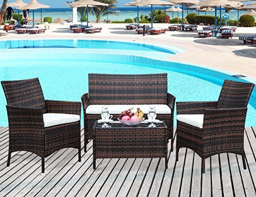 Leisure Zone 4 PCS Patio Furniture Set Outdoor Garden Conversation Wicker Sofa Set (Beige Cushion)