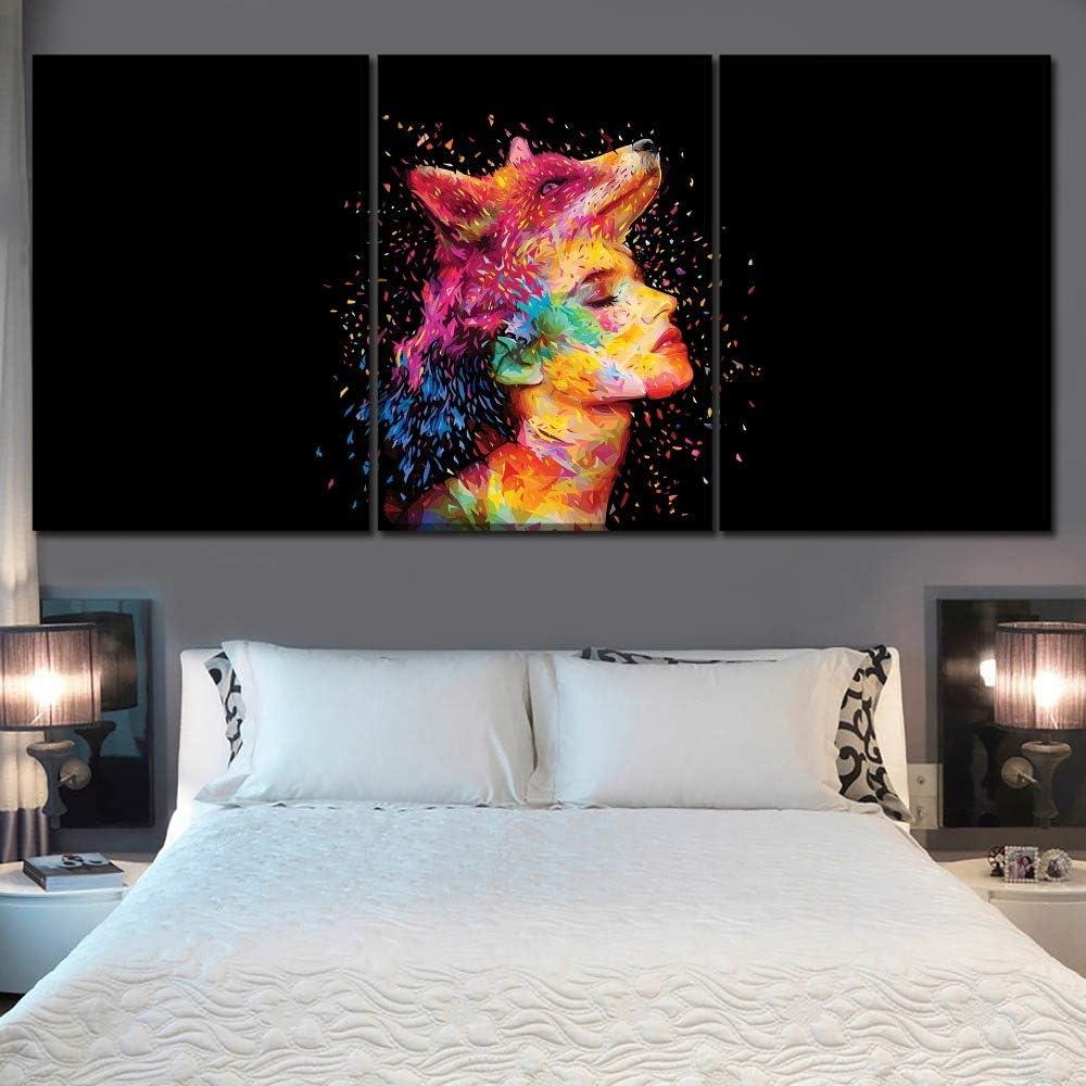 WGWNYN Lienzo Pared Artista decoración del hogar HD Imprimir 3 Abstractos Coloridos Cabeza de Lobo y Cuadros de la Cara de Las Mujeres para la decoración del dormitorio-58x80cmx3 Piezas