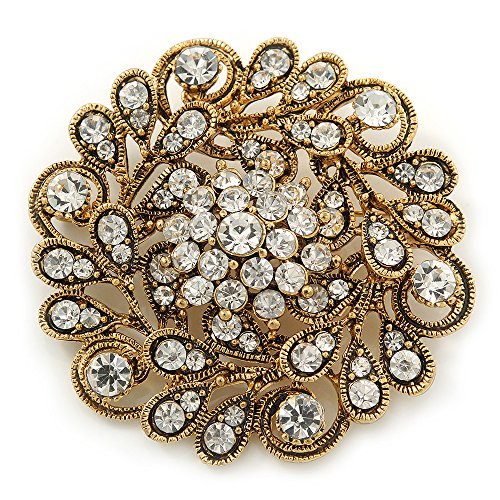 Avalaya Vintage Inspired Clear Crystal Floral Corsage Brooch In Antique Gold Metal - 55mm Diameter (Filigree Floral Brooch)
