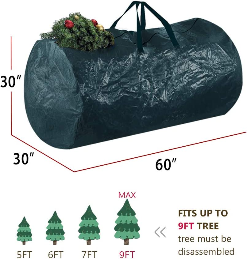 Skypatio Christmas Wreath Storage Bag 30 X 9 Water Resistant Fabric Storage Dual Zippered Bag for Artificial Christmas Wreaths,Canvas Handles Insects,Red Protect Holiday Wreath from Dust