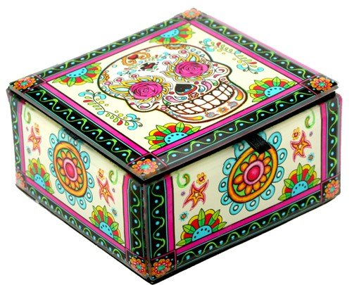 Skull Decoratiove Glass Box (4x4x2.25