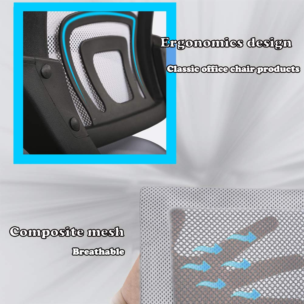 Ergonomic Office Chair Cheap Desk Chair Mesh Computer Chair Back Support Modern Executive Adjustable Rolling Swivel Chair for Women, Men(White) by BestOffice (Image #4)