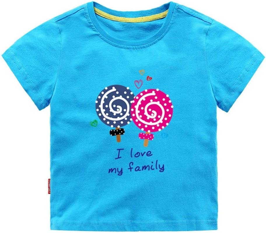 3-8T Eveliyning Unisex Toddlers Adorable Cartoon Lollipop Printing Design Style Cotton Top Short Sleeve Playwear Kids Summer Tee Fashion Wild Boys Sport Bottoming Tee
