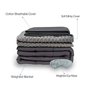 BUZIO Weighted Blanket 4 Piece Set with 2 Removable Duvet Covers & 1 Weighted Sleep Mask, Heavy Blanket for Hot & Cold Sleepers - Kids or Adults (60 x 80 inches - 15 lbs, Grey)