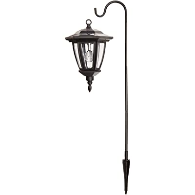 Black Vintage Shepard Hook Solar Lantern Outdoor Light : Garden & Outdoor
