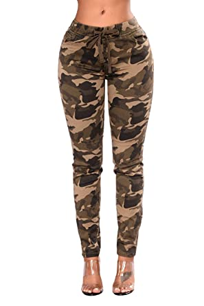 attractive price detailed images sleek Sejardin Women's Camo Pencil Pants Stretchy Skinny Slim ...